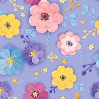 Modello senza cuciture floreale del taglio della carta. primavera origami fiori sfondo disegno botanico per tessuto, trama, stampa, carta da parati. illustrazione vettoriale