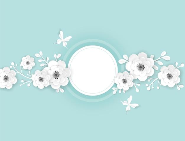 Modello di biglietto di auguri con cornice di fiori recisi di carta. design decorativo con elementi floreali di origami 3d per banner primaverili, brochure di vendita estiva, poster. sfondo di matrimonio alla moda. illustrazione vettoriale
