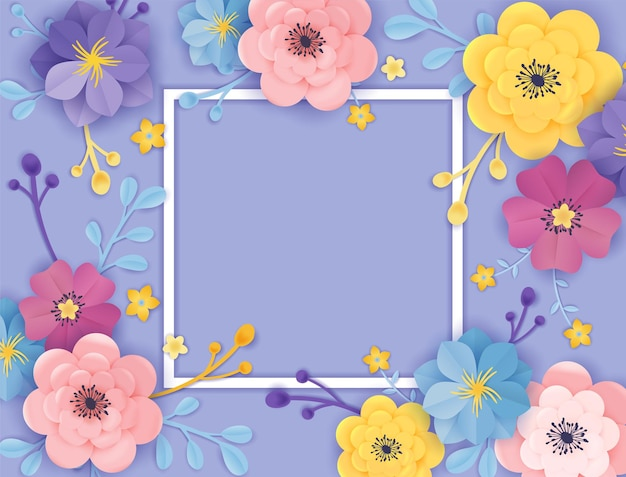 Modello di biglietto di auguri di fiori recisi di carta. cornice floreale in stile origami. design botanico primavera estate per banner, poster. illustrazione vettoriale