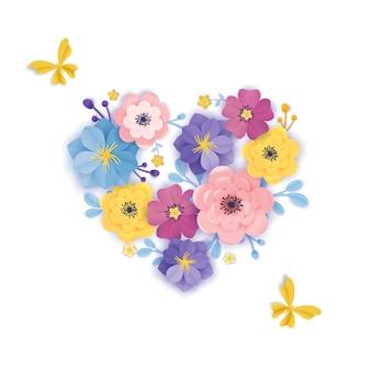 Modello di biglietto di auguri di fiori recisi di carta. sfondo floreale in stile origami cuore. design botanico primavera estate per banner, poster. illustrazione vettoriale