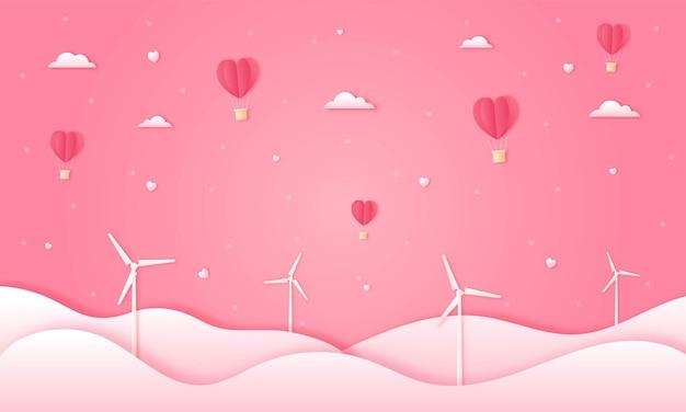 Carta tagliata felice concetto di san valentino. paesaggio urbano eco con mongolfiere a forma di cuore e nuvole che volano sul cielo rosa