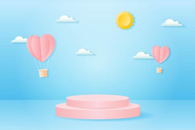 Carta tagliata felice concetto di san valentino. paesaggio con nuvole, mongolfiere a forma di cuore che volano e podio a forma di geometria sullo stile di arte della carta del fondo del cielo blu.