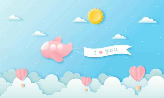Carta tagliata felice concetto di san valentino. Vettore Premium