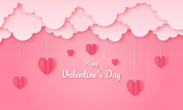 Carta tagliata felice concetto di san valentino.