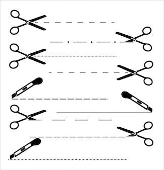 Icona di taglio carta con linea tratteggiata. forbici con linee di taglio. set di forbici da taglio.