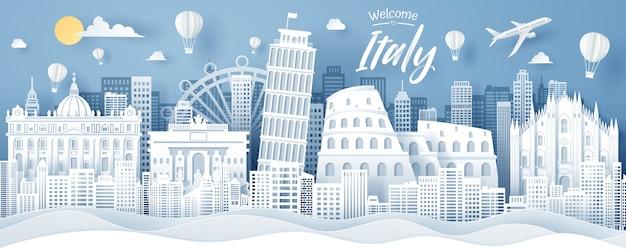 Taglio della carta del concetto del punto di riferimento, di viaggio e di turismo dell'italia.