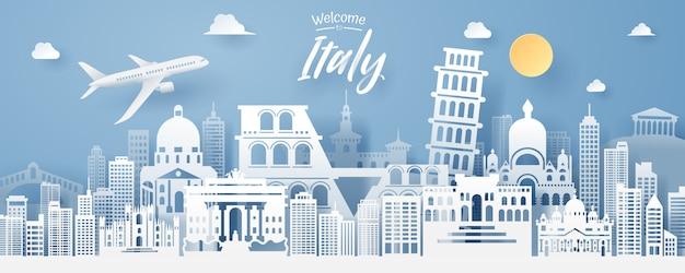 Taglio della carta del punto di riferimento dell'italia Vettore Premium