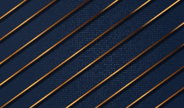 Carta tagliata sfondo oro di lusso con struttura in metallo 3d astratto Vettore Premium