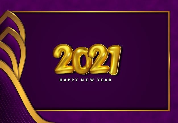 Carta tagliata lusso felice anno nuovo sfondo 2021 con struttura in metallo viola scuro 3d