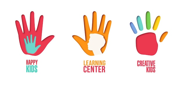 Carta tagliata logo modello impostato con le mani dei bambini. simboli di origami per bambini per branding, brochure, identità. illustrazione vettoriale