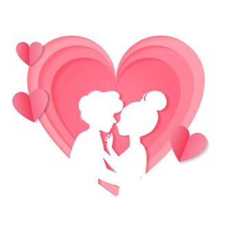 Carta ritagliata stile coppia in amore silhouette.