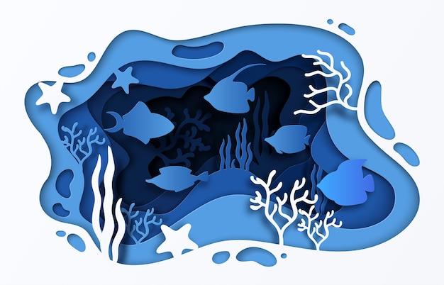 Illustrazione del mare tagliata carta. barriera corallina subacquea dell'oceano con onde di pesce e alghe,