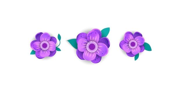 Stile del taglio della carta di fiore luminoso isolato su fondo bianco.