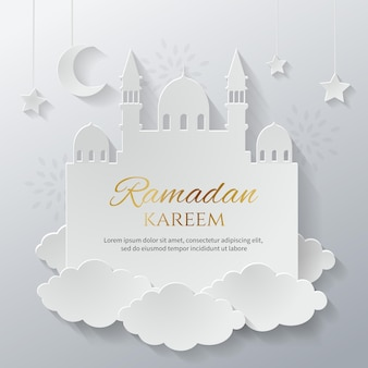 Carta tagliata stile ramadan kareem biglietto di auguri modello sfondo minimalismo islamico