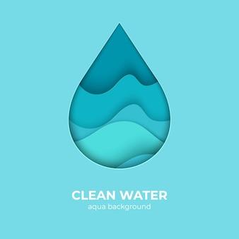 Modello di progettazione di logo di goccia d'acqua tagliata carta. forme di onde d'acqua minime 3d, onde dell'oceano di origami astratte. waterdrop di creatività vettoriale con splash salva la natura pura come elemento del logo eco