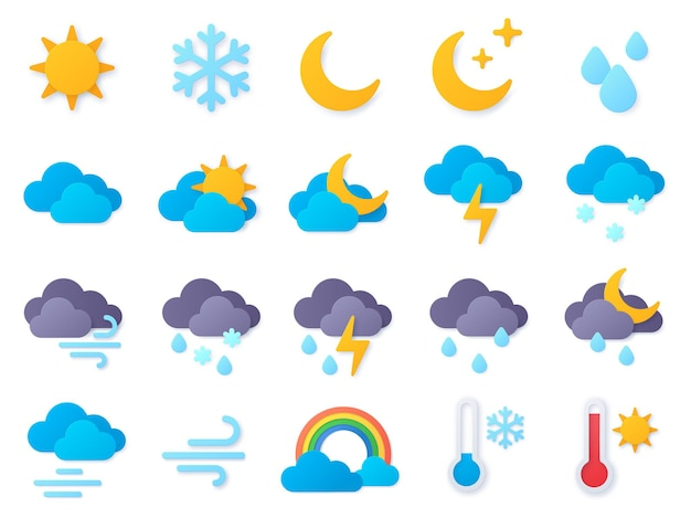 Icone del tempo di carta tagliata. simboli di pioggia, arcobaleno, sole, temperatura calda e fredda, neve invernale e nuvola. insieme di vettore del pittogramma di previsioni meteo. tempo di pioggia, illustrazione delle icone di meteorologia del mestiere di carta