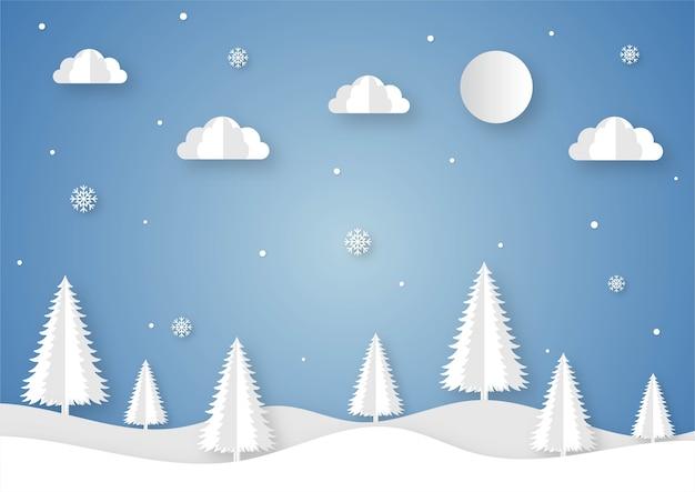 Cartone animato di paesaggio invernale tagliato carta su sfondo blu.