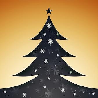 Stile di ritaglio di carta albero di natale decorato con fiocchi di neve, merry ch