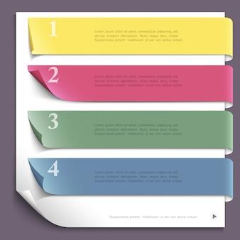 Modello di infographic di progettazione di carta per il layout del sito web