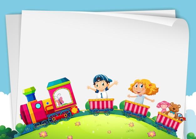 Disegno di carta con i bambini sul treno
