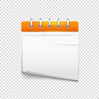 Diario di carta sul modello di vettore di sfondo trasparente. modello per un testo