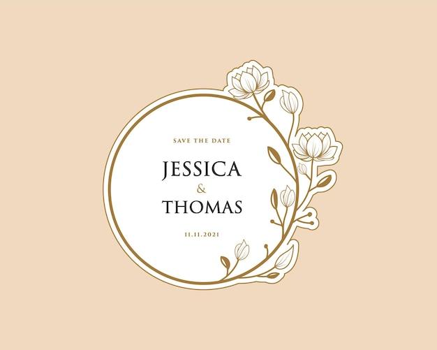 Carta femminile corona botanica adesivo con logo per bouquet spa salone di bellezza boutique biglietto di nozze