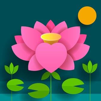 Fiore di carta. loto. natura sfondo nero illustrazione vettoriale