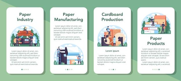 Set di banner per applicazioni mobili per l'industria della carta. lavorazione del legno e della carta