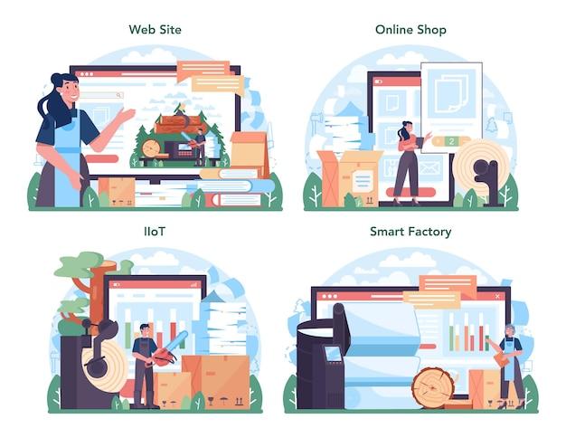 Servizio online o set di piattaforme per l'industria della carta. lavorazione del legno e della carta
