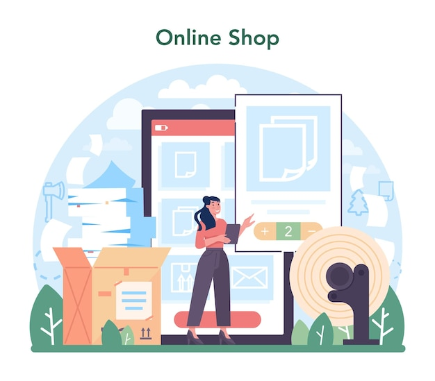 Servizio o piattaforma online dell'industria della carta. fabbrica di lavorazione del legno e produzione di carta. processo di fabbricazione di carta e cartone. negozio online. illustrazione vettoriale piatta