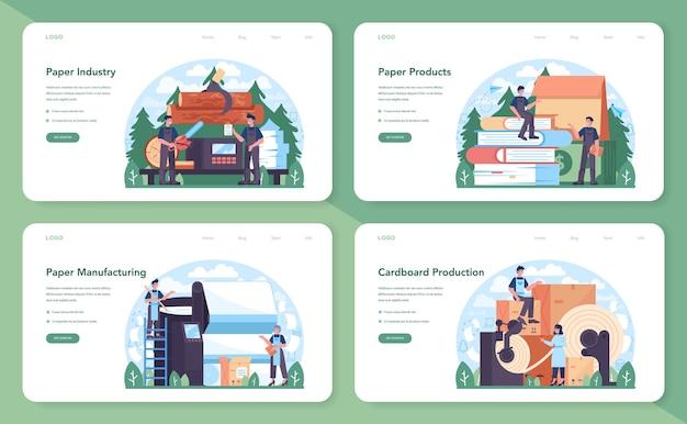 Banner web per l'industria della carta o set di pagine di destinazione. lavorazione del legno e della carta