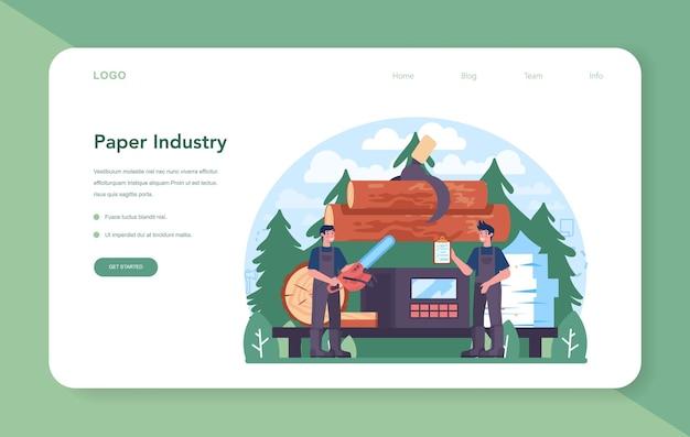 Banner web o pagina di destinazione dell'industria della carta. lavorazione del legno e della carta