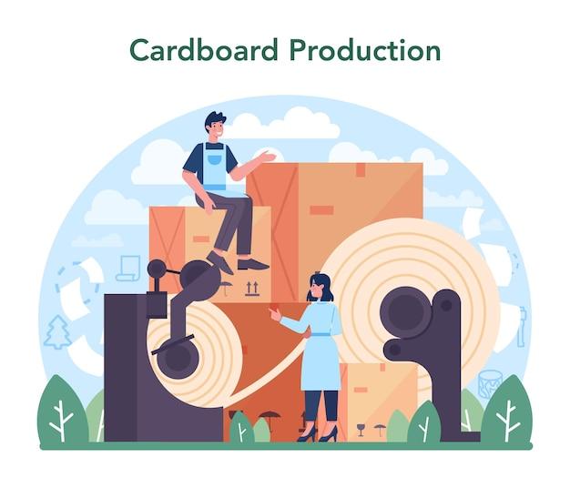 Industria della carta. fabbrica di lavorazione del legno e produzione di carta. taglio del legno e produzione di carta e cartone. illustrazione vettoriale piatto isolato