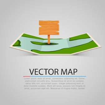Cartina mappa cartacea con puntatore in legno