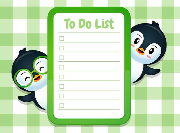 Modello di nota di blocco note di carta con simpatici pinguini