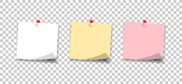 Note di carta fissate con un pulsante. imposta le note sugli adesivi sul messaggio.