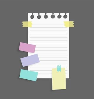 Adesivi di note di carta attaccati con nastro adesivo colorato isolato su grigio