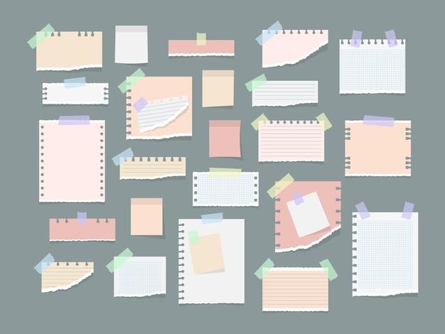 Note di carta su adesivi, taccuini e illustrazione di messaggi di promemoria