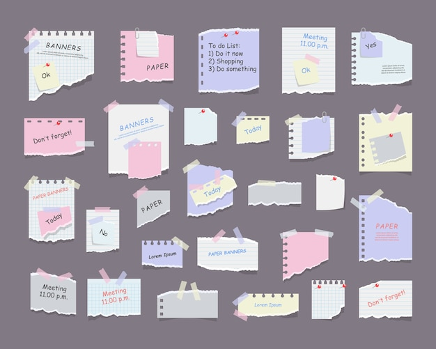 Note di carta su adesivi, taccuini e messaggi di promemoria fogli di carta strappati. carta da lettere vuota del promemoria della riunione, elenco delle cose da fare e avviso di ufficio o pannello informativo. promemoria delle informazioni.