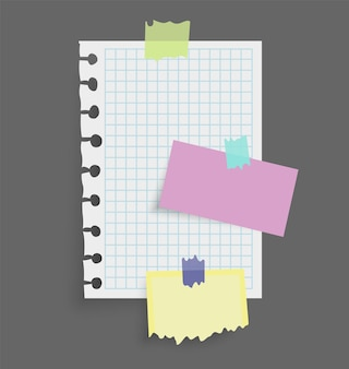 Adesivi di note di carta. posto per messaggi di promemoria su fogli di carta. Vettore Premium