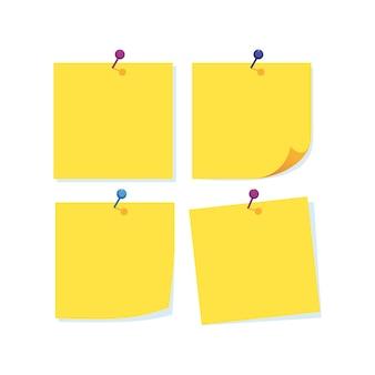 Note di carta con ago di vari colori