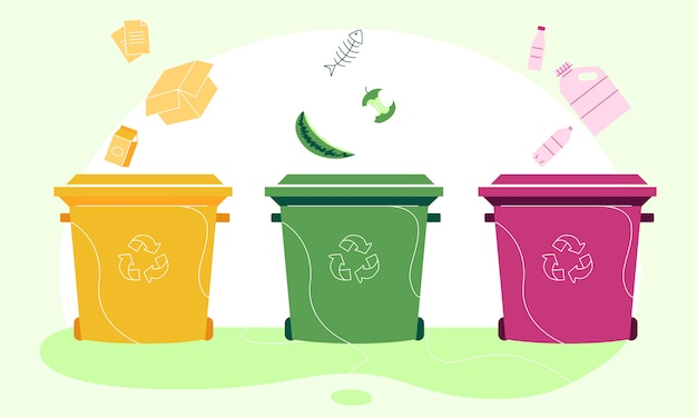 Illustrazione di separazione dei rifiuti di carta, organici e in plastica