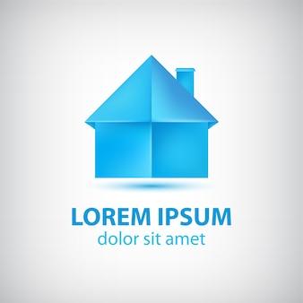 Origami di carta blu casa logo isolato su grigio