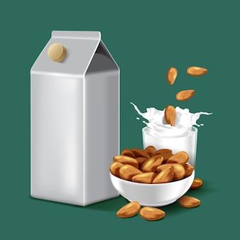Confezione di carta latte di mandorle con schizzi di liquido e semi