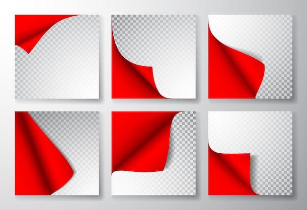 Pagina di carta con angolo arricciato e ombra.