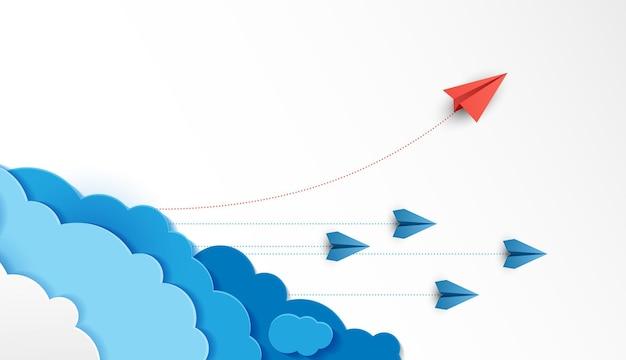 L'aereo di carta è una competizione per la destinazione fino alle nuvole e il cielo va verso l'obiettivo di successo finanziario