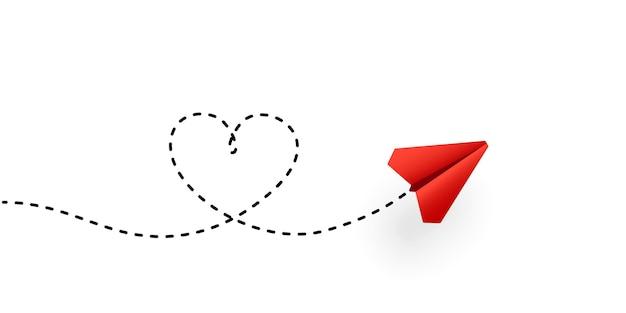 Aereo di carta e illustrazione del percorso a forma di cuore