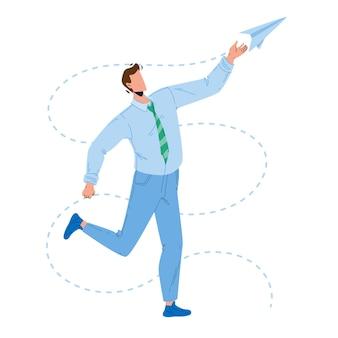 Aereo di carta lancio di giovane imprenditore vettore. lancio dell'uomo e giocare con l'aeroplano di carta volante fatto a mano. personaggio manager ragazzo hanno tempo giocoso divertente con illustrazione del fumetto piatto giocattolo