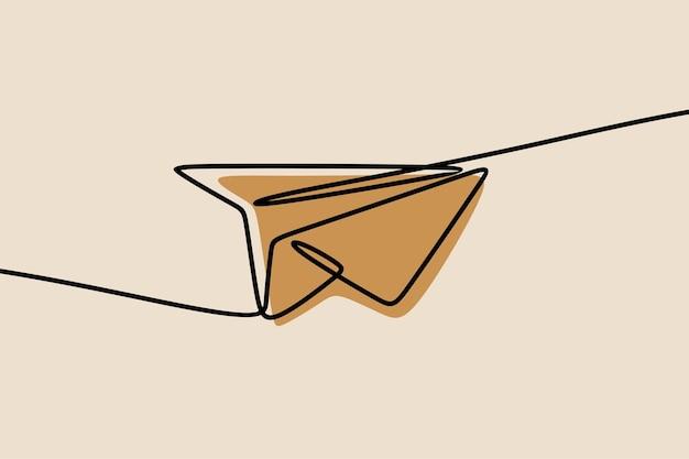Aereo di carta una linea continua arte