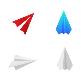 Aereo di carta illustrazione del disegno dell'icona di vettore modello